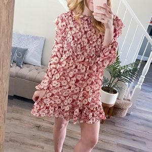NWT Free People Floral Pastel Shift Ruffle Dress